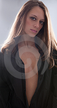 Sexy Woman In Open Man's Shirt Royalty Free Stock Photo - Image: 15344615