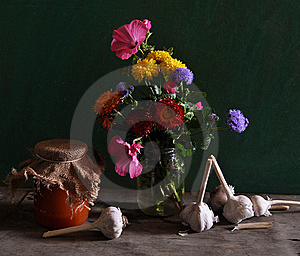 Still Life With Different Flowers And Jar Of Jam Stock Photos - Image: 15345123
