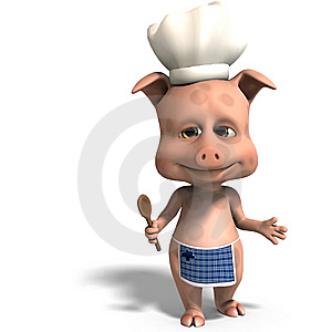 The Cook Is A Cute Toon Pig Stock Photography - Image: 15346372