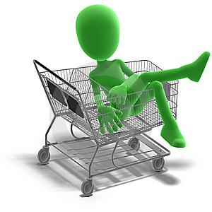 Symbolic 3d Male Toon Character Goes Shopping Royalty Free Stock Photo - Image: 15346385