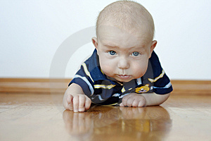 Cute Baby Boy Laying On His Tummy Royalty Free Stock Image - Image: 15348546