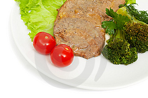 Escalope Of Veal With Onion Sauce And Boiled Broccoli Royalty Free Stock Image - Image: 15351656
