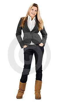 Businesswoman In Grey Suit Royalty Free Stock Image - Image: 15353976