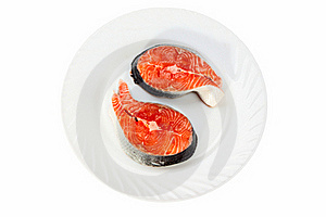 Slices Of A Fresh Crude Salmon Stock Image - Image: 15354981