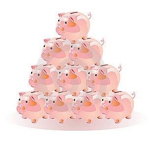 Pyramid Scheme With The Piggies Stock Image - Image: 15363971