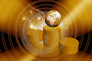 GLOBE ON A COINS Royalty Free Stock Photo - Image: 15366005