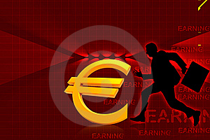 Euro And Running Business Man Stock Image - Image: 15366151