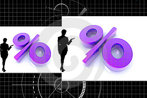 Percentage And Business Woman Royalty Free Stock Photo - Image: 15366195