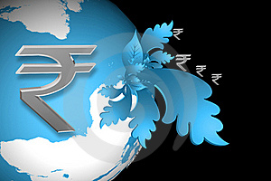 Indian Rupee Sign And World Royalty Free Stock Photo - Image: 15366295