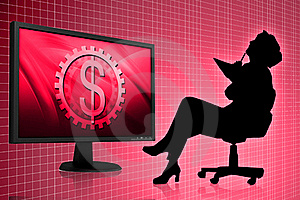 Business Woman And Tft Monitor Stock Photo - Image: 15366330
