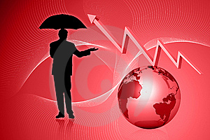 Globe And Graph With Business Man Stock Image - Image: 15366361