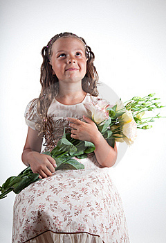 Little Girl With Flowers Stock Photo - Image: 15368090