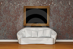 White Sofa With Antique Frame Royalty Free Stock Images - Image: 15368249