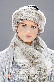 Young Woman Wearing Fur Hat And Wrap Stock Images - Image: 15370504