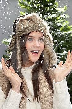 Fashionable Teenage Girl Wearing Cap And Knitwear Stock Photo - Image: 15371350