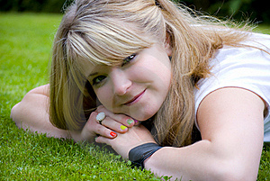 Smiling Lawn Girl Royalty Free Stock Photography - Image: 15371527