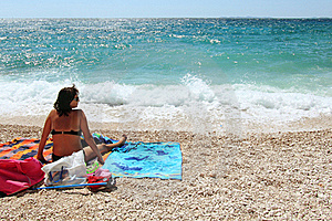Middle Age Woman In The Beach Stock Photo - Image: 15373130
