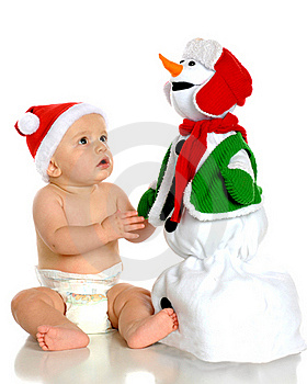 Awed By Snowman Royalty Free Stock Image - Image: 15373956