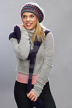 Teenage Girl Wearing Warm Winter Clothes In Studio Royalty Free Stock Image - Image: 15374036