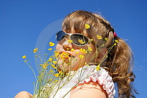 The Child With Wild Flowers Stock Image - Image: 15376821