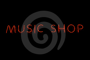 Music Shop Neon Sign Royalty Free Stock Photo - Image: 15380565
