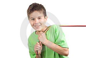 Boy Pulling A Rope Royalty Free Stock Photo - Image: 15381985