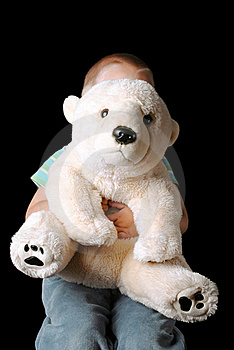 Child Hiding Behind Teddy Royalty Free Stock Image - Image: 15382506