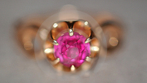 Purple Diamond In Gold Ring Royalty Free Stock Photo - Image: 15383845