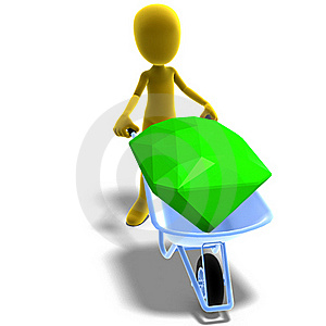Symbolic 3d Male Toon Character Found A Gem Royalty Free Stock Photo - Image: 15386395