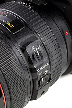 Auto/manual Focus Button On DSRL Camera Len Stock Images - Image: 15389474
