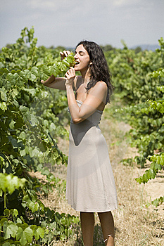 Woman Eating Grapes Stock Images - Image: 15389734