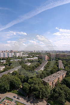 Birdseye Modern City View. Summer Royalty Free Stock Image - Image: 1549136
