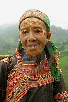 Hmong Flowered Grandmother Stock Photography - Image: 15401282
