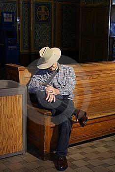 Senior Man Waiting In Train Station Royalty Free Stock Photography - Image: 15401907