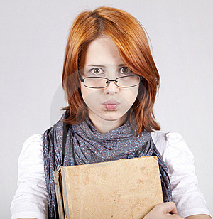 Doubting Fashion Girl In Glasses With Old Book Royalty Free Stock Photo - Image: 15402265