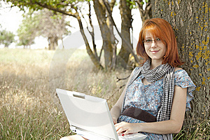 Young Smiling Girl In Glasses And Notebook Stock Images - Image: 15402474