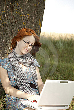 Young Smiling Girl In Glasses And Notebook Stock Photography - Image: 15402482