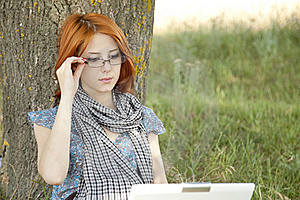 Young Girl In Glasses And Notebook Stock Photography - Image: 15402492