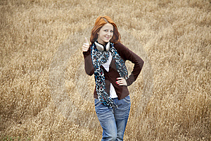 Young  Smiling Fashion With Headphones At Field. Stock Image - Image: 15403051