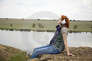 Young Girl With Headphones At Rock Royalty Free Stock Images - Image: 15403389