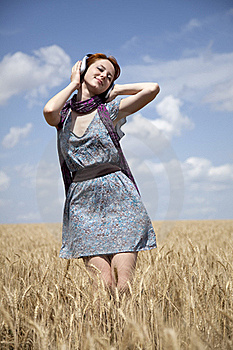 Young  Smiling Girl With Headphones At Field. Royalty Free Stock Photos - Image: 15403848