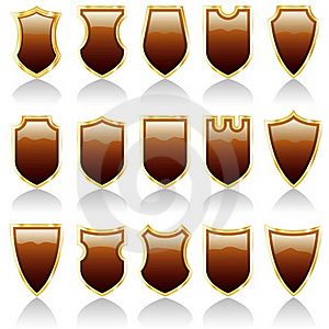 Choco Shiny Shields Royalty Free Stock Photos - Image: 15404708