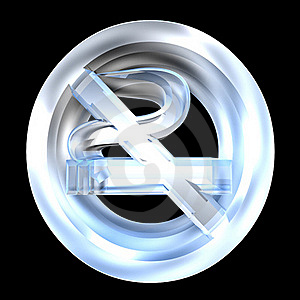 No Smoking Icon Symbol In Glass (3D) Stock Images - Image: 15407754