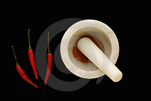 Chilli's And Chilli Powder In A Mortar And Pestle Royalty Free Stock Photography - Image: 15411277