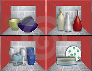 Dishes On Newspaper Shelves Stock Photography - Image: 15411852