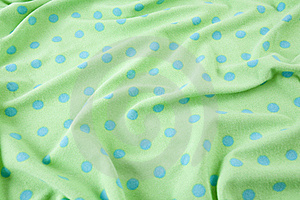 Green With Blue Polka Dots Wrinkled Fabric Stock Photo - Image: 15414840
