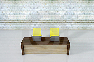 Workplace Two Chair And Laptop Stock Photography - Image: 15414892
