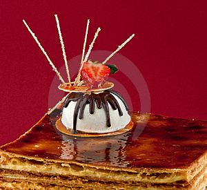 Brown Cake With Strawberry Topping Stock Image - Image: 15417141