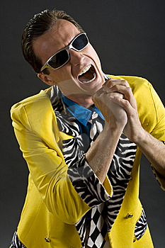 Rockabilly Singer From 1950s In Yellow Jacket Royalty Free Stock Images - Image: 15421849