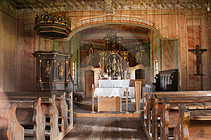Interior Of Traditional Wooden Church Stock Image - Image: 15424501